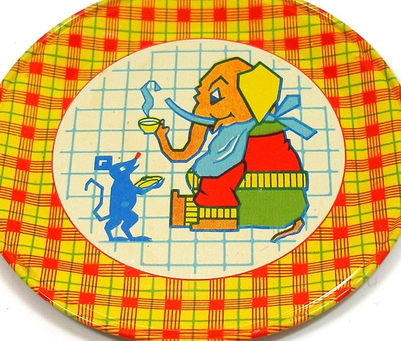 40's tin toy tea plate, Elephant & Mouse graphics by J Chein.