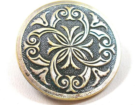 Antique French Button, Decorative Victorian brass  in silver.