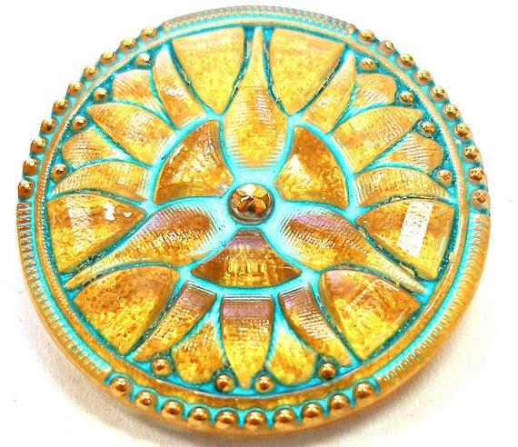Czech glass button, Golden Flower with aqua, 34mm.