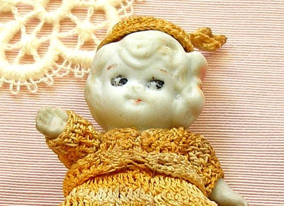 30's flapper Frozen Charlotte doll, google eye, fun n funky kitsch.