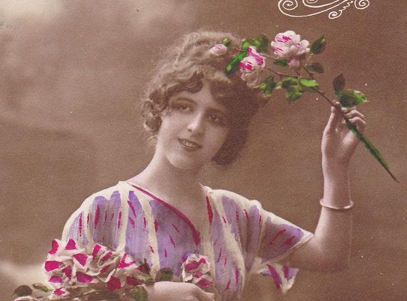 Edwardian French postcard, Lovely lady with flowers, paper ephemera.