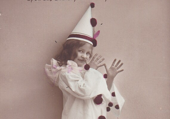 Clowning, Antique Edwardian postcard, girl in a costume, paper ephemera.