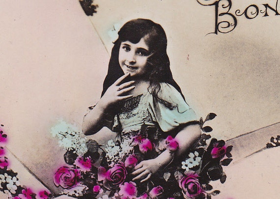 1910 French postcard, Girl in an airplane, paper ephemera.