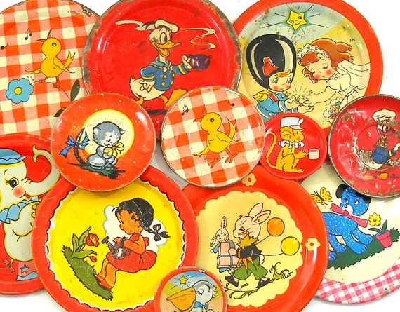 50s Tin Toy tea saucers, Animals & kids set of 12 with litho in reds, Instant Collection.