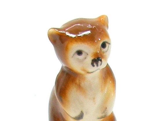 Mini BEAR figurine, Brown china bear on hind legs, animal.