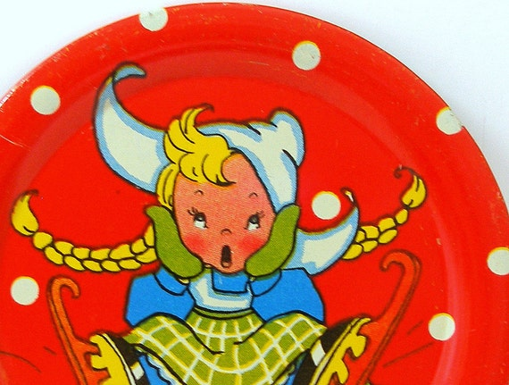 50s Tin Toy Tea plate, Ice Skating Girl graphics by Ohio Art.