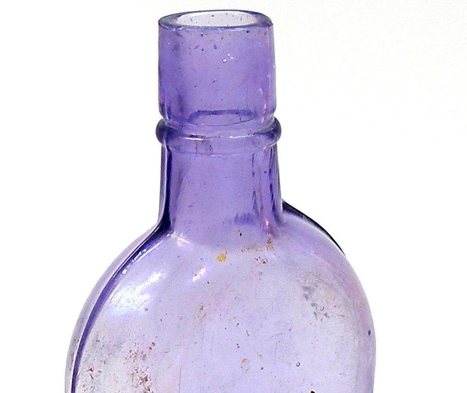 1800s Amethyst Glass Flask Antique Purple Glass Bottle