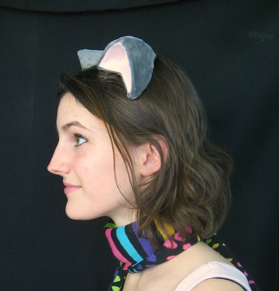 Nyan Cat Clip On Grey and Pink Kitty Cat Costume Cosplay Ears