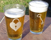 Key To My Heart Etched Pint Glass Set