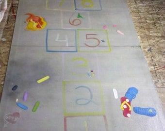 Custom Trompe l'oeil Hopscotch Floorcloth