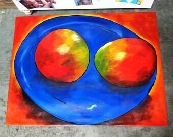 Mangos on Blue plate floorcloth