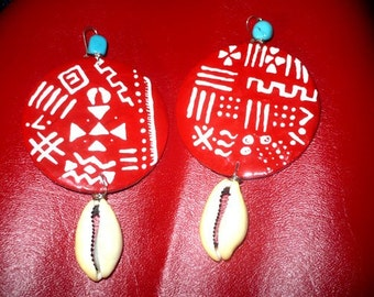 Mudcloth in Red Earrings