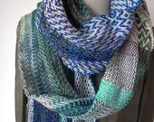RESERVED \/\/\/ You Like Blue, Green and Grey - Handwoven scarf (Free shipping)