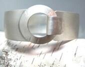 Brushed Sterling Buckle Bracelet, Artisan Sterling Handmade Bracelet, Sterling Silver Bangle Bracelet