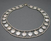Pearl and Sterling Collar Necklace, Handcrafted Coin Pearl Artisan Jewelry