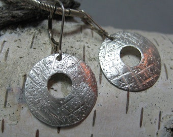 Sterling Silver Disc Earrings, Hammered Sterling Silver Jewelry