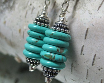 Turquoise and Sterling Column Earrings
