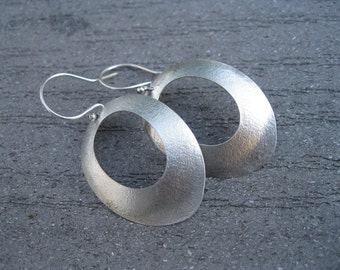 Large Textured Sterling Oval Earrings