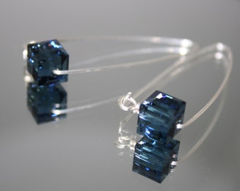 Blue Swarovski Drop Earrings