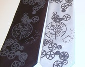Clock Gear microfiber necktie - pocket watch face and clock gears. silk screen men's tie, gray ink