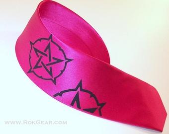 Narrow Fuchsia Necktie Pentacle Design
