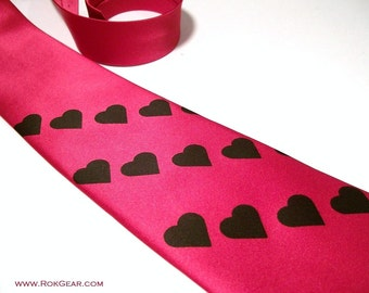 Mens Red necktie. Black Heart Valentine tie