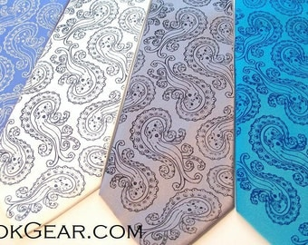 5 Octopus Paisley neckties print to order in colors of your choice