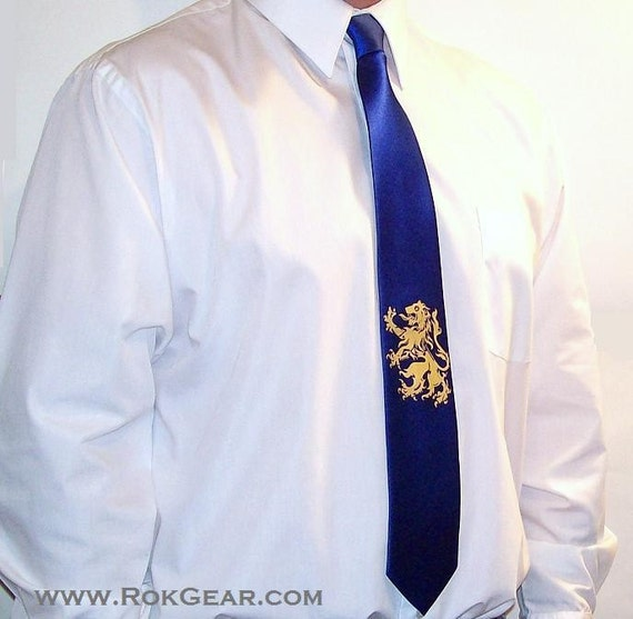 Mens Necktie Lion Rampant Royal Blue and Gold silkscreen necktie - sale