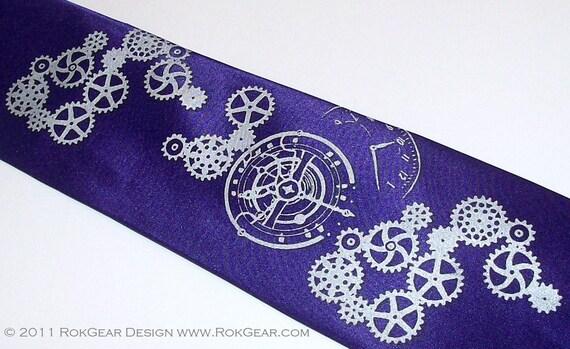 Necktie Dark Purple Clock Worx Silver Gear Design