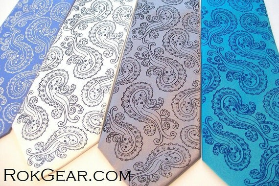 Mens wedding neckties, set of 5 mens ties, 59 available necktie colors Octopus Paisley