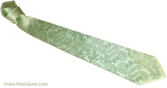Mens nautical necktie - green tie green octopus paisley design