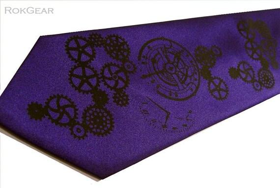 Mens Necktie Dark Purple Clock Worx Gear Design