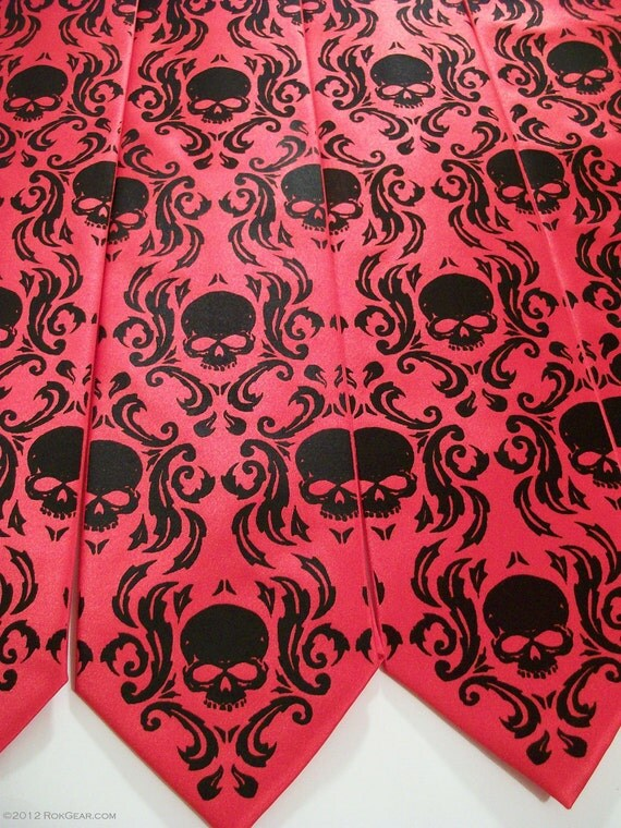 Wedding necktie set of 5 mens ties - damask skull necktie.