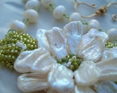 Pearls and Peridot hand embroidered necklace