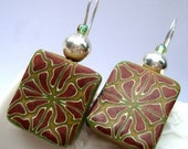 Polymer Clay earrings Green and Bronze