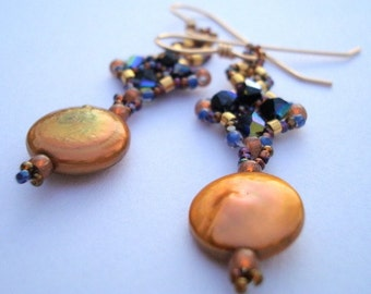 Blue and Gold hand beaded earrings