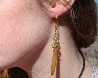 Carnelian hand beaded earrings