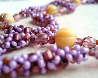 Purple and Cream Beaded Necklace