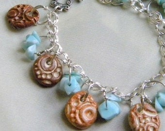 Sterling Silver and Ceramic Charm Bracelet