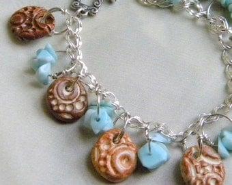 Sterling Silver and Ceramic Charm Bracelet