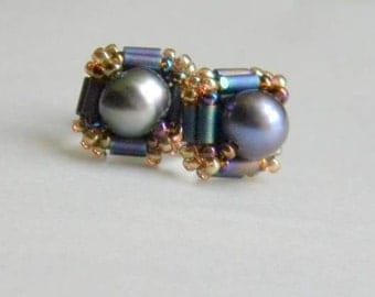 Hand Beaded Pearl stud earrings