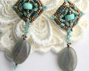 Sea Foam and Bronze with Labradorite ovals and Turquoise Rondelles Hand Beaded earrings on sterling silver posts