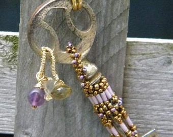 Antique Brass Key, with citrine, smokey quartz and Amethyst With Hand beaded band and Brass chain