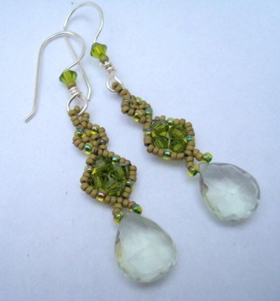 Green amethyst Hand beaded earrings