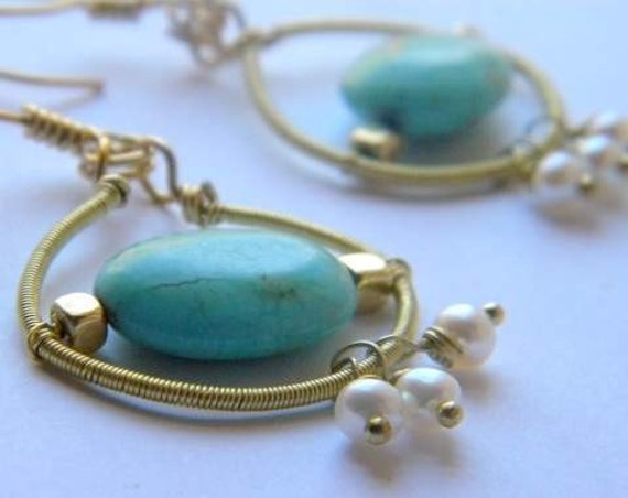 Brass Wire Wrapped Earrings with fresh water pearls, azurite Bead