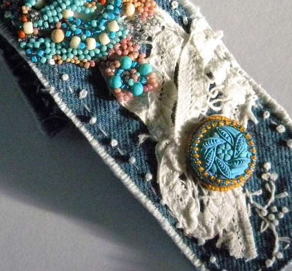 Up cycled Denim Hand Embroidered cuff with Antique lace and Vintage and New Buttons