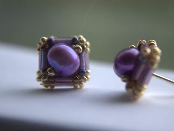 Hand Beaded stud earrings with Purple fresh water pearls and Gold and Amethyst seed and bugle beads
