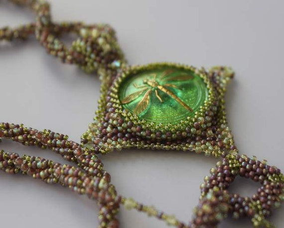 Hand Beaded Dragonfly Green Glass Czech button Necklace, Purple and Green