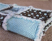 Aqua and Brown Shabby Chic Raq Quilt-   CLEARANCE