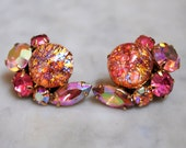 Gorgeous Signed Weiss Pink Rhinestone Earrings    Perfect